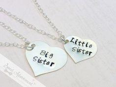 Big Sister - Little Sister - Hand Stamped Necklace Set