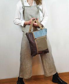 Backpack for women Macbook Pro 13, Macbook Air, Convertible Backpack, Waxed Canvas, Stripe Print, Fashion Backpack, Stripes, Shoulder Bag, Backpacks