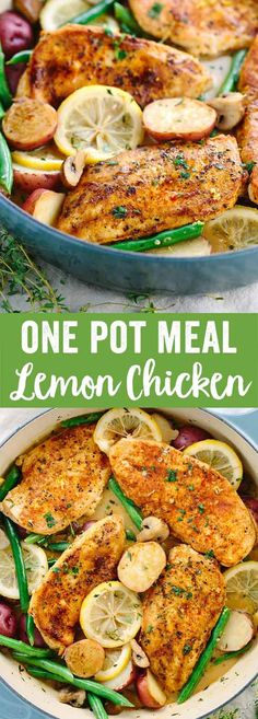 One Pot Meal Lemon Chicken - A quick and easy go-to recipe. Healthy chicken, potatoes, and green beans cooked in a delicious pan sauce. via @foodiegavin