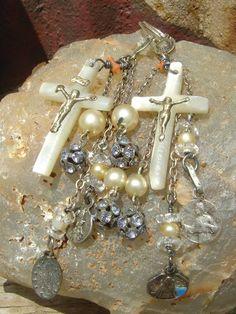 Celestial Music     Antique Religious Medal Cross Assemblage <3