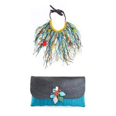 The Multi Savage necklace with the Lourdes clutch. Be eco Chic! #katechan #zulily #zulilyfinds #summer #beach #festival #sun #ecofashion #ecoaccessories #necklace #clutch #fashion