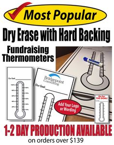 2 goal chart in reusable dry erase with a hard backing. Great for fundraising and achieving any goal. Set, track and achieve your goal then wipe off to use again! Goal Thermometer, Goal Tracking, Goal Charts, Achieve Your Goals, Fundraising, Sign, Words, Ideas, Signs