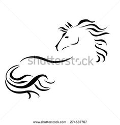 Stock Images similar to ID 160687325 - horse tattoo black and white...