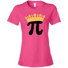Cute Pi Day celebration Women's Fashion T-Shirts has math symbol wearing a big princess crown, for a class party or a math teacher. $24.99 www.personalizedteachershirts.com