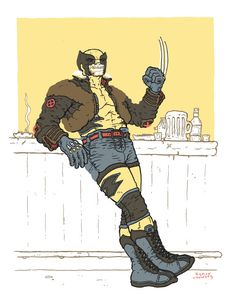 Wolverine at the Bar - Ramon Villalobos Marvel Comic Character, Comic Book Characters, Marvel Characters, Comic Books Art, Wolverine Images, Wolverine Art, Wolverine Cosplay, Ramones, Old Man Logan