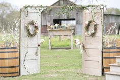 Love the dried wreath forms accented with fresh flowers for a rustic feel