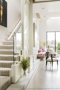 [CasaGiardino] ♛ Boston home of interior designer Craig Tevolitz, Platemark Design, and Richard Baiano of Childs Gallery. New England Home. Design Entrée, Cover Design, Loft Spaces, Living Spaces, Living Rooms, Foyer Staircase, Staircases, Stairs, Interior Decorating