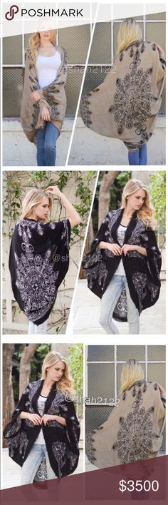 "New kimono scarf cardigan wrap cocoon boho coverup 📍black and mocha are available 📍📍 New Retails. Boho kimono scarf Mandala ,Henna print. cocoon cardigan wrap cape. Oversized, relaxed wrap. 👉Lightweight fabric. ⭐️100%  viscose ..,,Cocoon style  with kimono sleeves... ⭐️One size fits most. ⭐️Total length : 45"" approximately Boutique Accessories Scarves & Wraps"