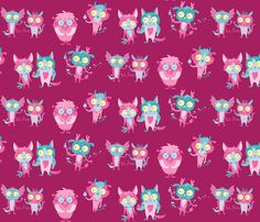 Monsters in Love fabric by pinkowlet on Spoonflower - custom fabric