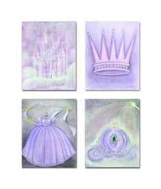 Princess Purple Nursery, Kids Decor, Kids Wall Art, SET OF 4 Prints, Nursery Wall Art, , Nursery Decor, Princess Baby room, Art for Children