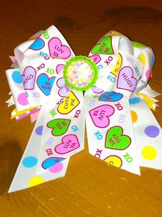 Conversation heart, tails down, multi-layered hair bow. on Etsy, $12.00