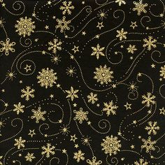Item: Holiday/Winter Batik Fabric/Yardage, cut by-the-yard. Also available in custom sizes.  Black batik with gold metallic stars, snowflakes and