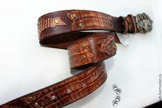 """4lapki Ремень кожаный, крокодил, пряжка """"Bergamot"""" / leather belt crocodile buckle """"Bergamot"""" horse"""