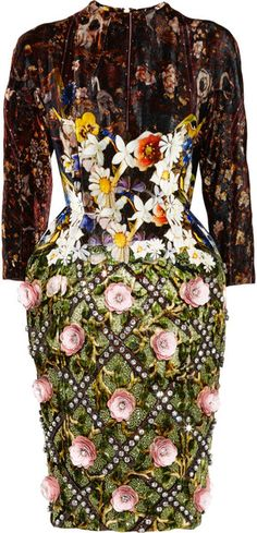 MARY KATRANZOU Jewel Tree Appliquéd Velvet Dress - Lyst