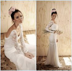 Discount Amazing Long Sheer Lace Sleeve Mermaid Beach Wedding Dresses Stunning Low Scooped Edges Open Back Chiffon Little Train 2014 NEW Bridal Gowns Online with $113.09/Piece | DHgate