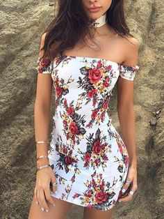 Women Sexy Off Shoulder Floral Bodycon Dress