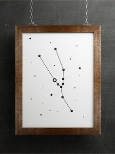 Taurus constellation print, Zodiac Taurus art, Black and white minimalist poster, Constellation art, Zodiac print