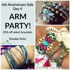 Day 4 Sale is Finally Here + It's an #ArmParty! Today ONLY, Get 25% Off select bracelets. So many great options to choose from + at great low prices for 1 day only! Shop: www.chloeandisabel.com/boutique/thecelticpearl   #Anniversay #Sale #Day4 #bracelets #MultiWrap #Convertible #MultipleLooks #jewelry #fashion #accessories #style #shopping #shop #trendy #trending #trend #trends #boutique #chloeandisabel #thecelticpearl #Save #deal #discount #steal #promo #limited #LimitedTime #Hurry