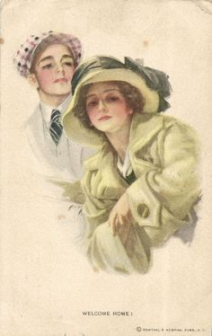 """Welcome Home!"" ~ 1909 Harrison Fisher postcard"