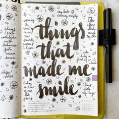 Things that made me smile last week #lifecapturedproject #journal #artjournal #hobonichi #planner #diary #notebook #filofax #mtn #midori #travelersnotebook #midoritravelersnotebook #scrapbooking #stationery #pens #doodles #doodling #type #typography #letters #lettering #handwriting #handlettering #calligraphy #moderncalligraphy #brushpens #brushlettering