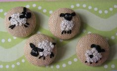 Hand Embroidered Sheep - Fabric Covered Buttons