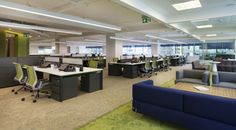 Love the lounge spaces mixed right in with the desk spaces. | Anadolu Sigortas Istanbul Offices #Open plan