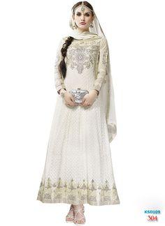 Kiteshop White Floor Touch Anarkali Suit Online for best deal