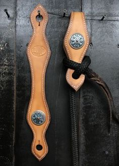 Leather Concho Slobber Straps - Turquoise - Mecate - Western Saddle - No Reins