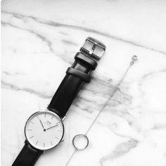 black watch & silver circle bracelet