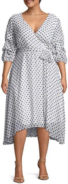 Plus Size Polka Dot Fit & Flare Dress