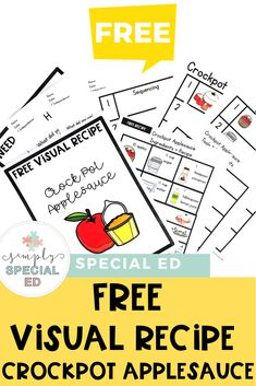 FREE Visual Recipe: Crockpot Applesauce - Simply Special Ed Special Education Activities, Special Education Classroom, Art Education, Cooking In The Classroom, Self Contained Classroom, Teaching Time, Crockpot, Speech And Language, Student Learning