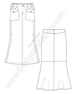 V51 Free Illustrator Maxi Skirt Flat Drawing