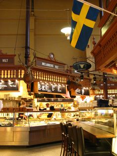Östermalmshallen, a historic covered food market hall in Stockholm, Sweden.