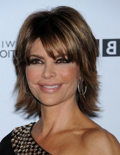 Lisa Rinna Layered Short Straight Cut with Bangs for Thick Hair