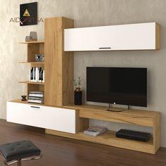 Σύνθεση Τηλεόρασης OMELA 260*42*193, Χρυσός Δρύς Με Λευκό. Από την Alphab2b.gr Tv Wall Design, Tv Unit Design, Solar, Sweet Home, Living Room, Furniture, Home Decor, Products, Carp