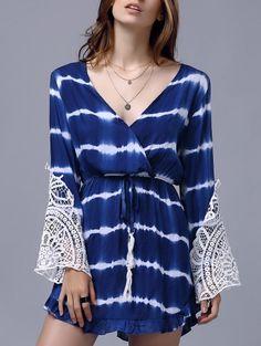 Plunging Neck Long Sleeve Lace Splice Dress #womensfashion #pinterestfashion…