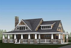 Storybook Country House Plan with Sturdy Porch - 18289BE | Cottage, Country, Craftsman, Northwest, Vacation, Exclusive, 1st Floor Master Suite, Bonus Room, CAD Available, Jack & Jill Bath, PDF, Wrap Around Porch, Corner Lot | Architectural Designs