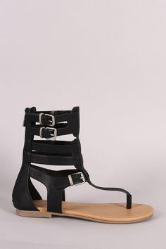 Soda T-Strap Caged Gladiator Flat Sandal – Style Lavish