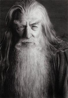 ♂ Black and white photography man portrait McKellen as Gandalf