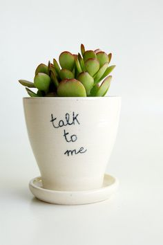 White Planter and Saucer, Message, Comics, Bubble Speech, Pottery by RossLab (made to order). $32.00, via Etsy.