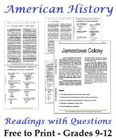 Worksheets Worksheets For Highschool Students list of american history readings worksheets for high school students free to print