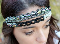 """Pink Pewter """"Gloria"""" Double Stretch Band Headband Hair Jewelry; Black, Silver, Bronze, & Iridescent; $46.95 with Free shipping"""