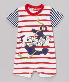 Look at this Baby Starters Red & White Strip 'Mama' Romper - Infant on #zulily today!