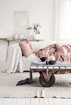 White Room with Dusty Pink Pillows and Throw, Industrial Cart
