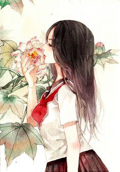 watercolor illustration 欣随玉露点,不逐秋风催-零届0rz__涂鸦王国插画