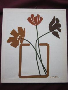 VINTAGE MARUSHKA FRAMED SCREEN PRINTED FLOWERS IN A VASE WALL ART RETRO 14 X 16