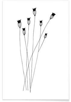 Kornblumen als Premium Poster von Studio Karamelo - Flower Tattoo Designs - Blumen Botanical Line Drawing, Botanical Drawings, Minimalist Drawing, Minimalist Art, Simple Line Drawings, Easy Drawings, Doodle Art, Floral Pattern Vector, Flower Doodles