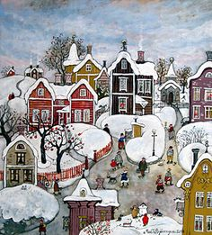 My Town by Marit Bjornegran - GINA Gallery of International Naive Art