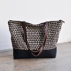 ZIP TOTE  triangle by bookhouathome on Etsy, $88.00