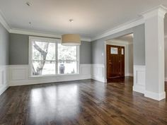 ideas for light wood floors grey walls wainscoting White Wood Floors, Grey Walls, Wood Walls, Paneling Walls, Walnut Floors, Panelling, Grey Wood, Wood Flooring, Living Room Wood Floor